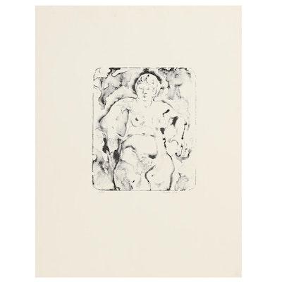 John Tuska Stone Lithograph Female Nude, Circa 1970