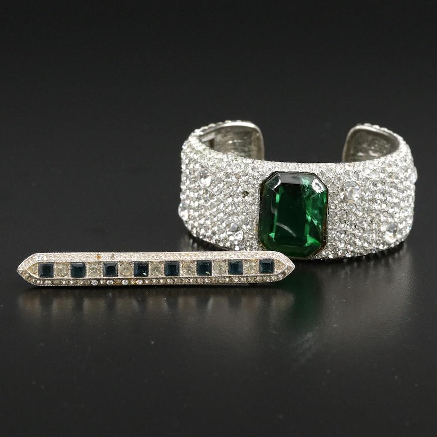 Vintage Kenneth Lane Glass Hinged Cuff Bracelet and Bar Brooch