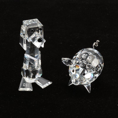 Swarovski Silver Crystal Pig and Dog Figurines
