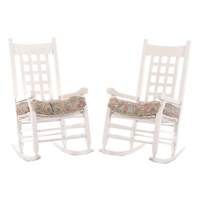 Painted Wood Rocking Chairs with Fitted Seat Cushions