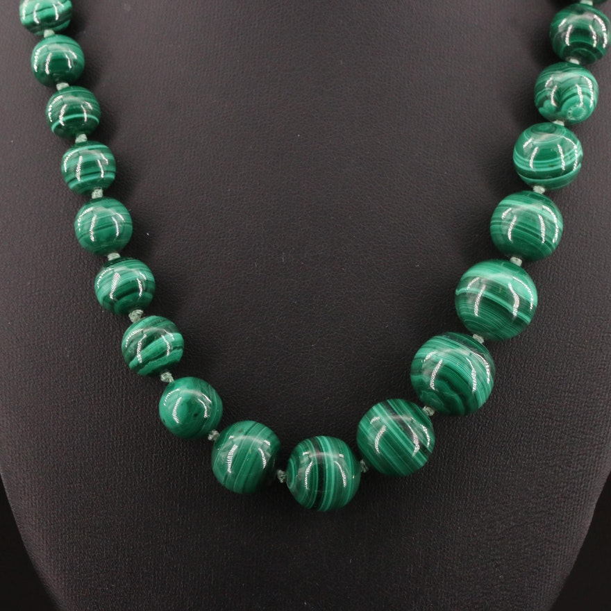 Graduated Malachite Beaded Necklace with Sterling Silver Clasp