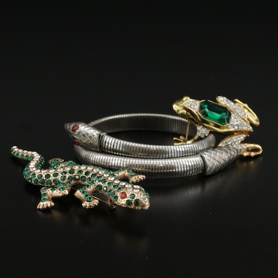 Art Deco Coiled Snake Bracelet With Frog and Gecko Brooches