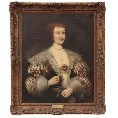Portrait Oil Painting, Possibly Marguerite de Lorraine, 18th Century