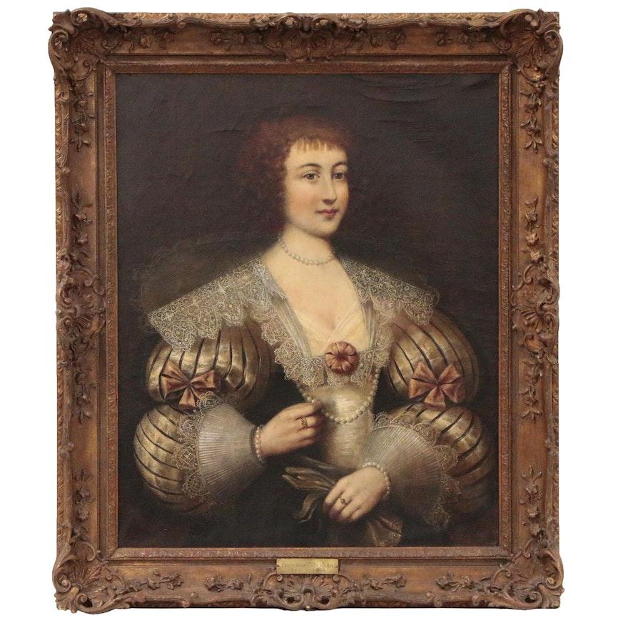 Portrait Oil Painting, Possibly Marguerite de Lorraine, 18th Century