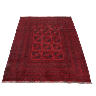 6'10 x 9'5 Hand-Knotted Afghani Turkoman Rug, 2000s