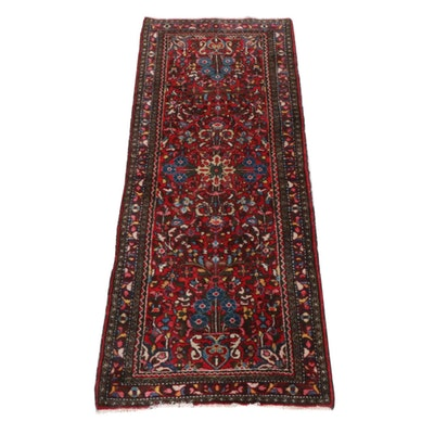 2'10 x 7'0 Hand-Knotted Persian Lilihan Rug, 1920s