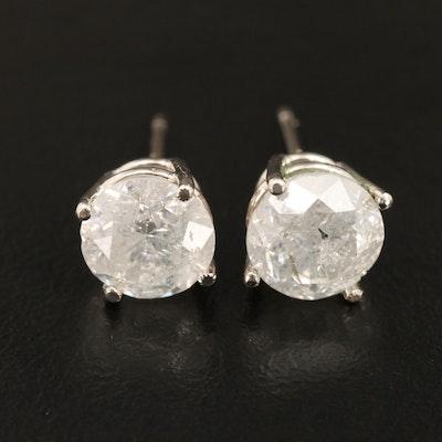 14K 3.55 CTW Diamond Solitaire Stud Earrings
