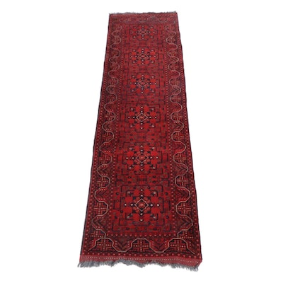 2'7 x 9'10 Hand-Knotted Afghani Turkoman Runner Rug, 2000s