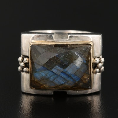 Sterling Labradorite Ring with 10K Accent
