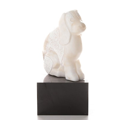 Carved Marble Sculpture of a Cocker Spaniel, 20th Century