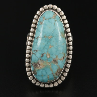 Southwestern Clyde Aguila Sterling Turquoise Ring with Stampwork