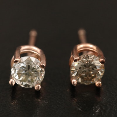 14K Gold 0.77 CTW Diamond Solitaire Stud Earrings
