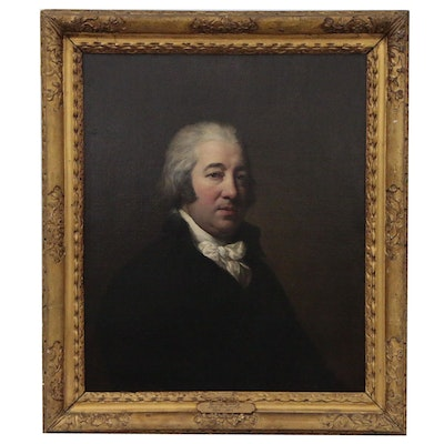 English School Half-Length Portrait Oil Painting of Gentleman, Late 18th Century