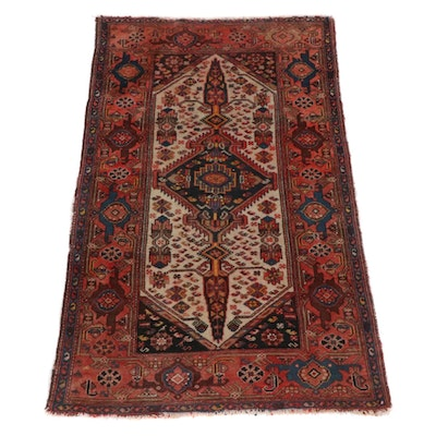 3'6 x 5'9 Hand-Knotted Persian Malayer Rug, 1920s