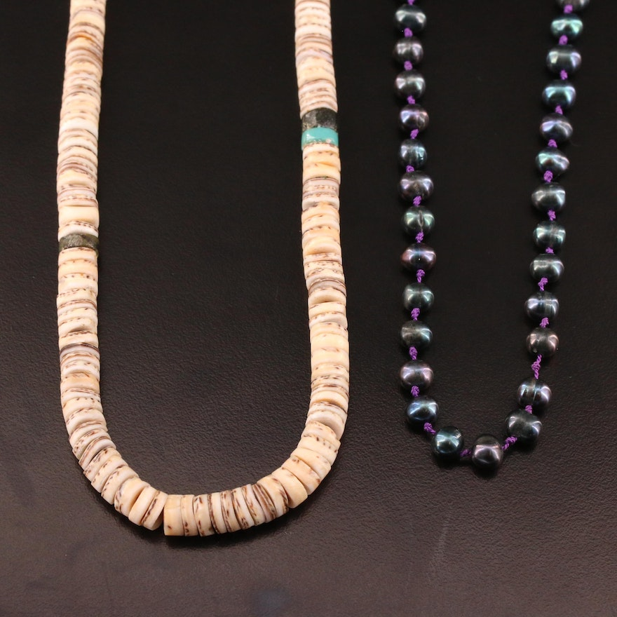 Cultured Pearl and Graduated Turquoise and Horn Heishi Necklace