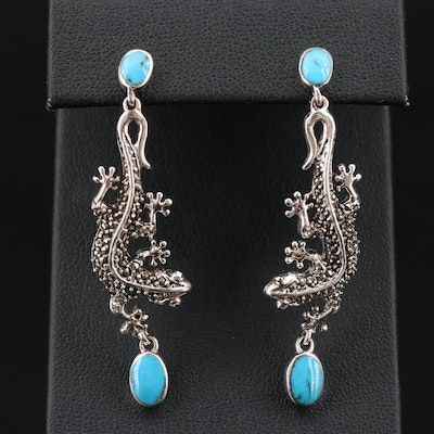 Sterling Silver Turquoise and Marcasite Salamander Drop Earrings