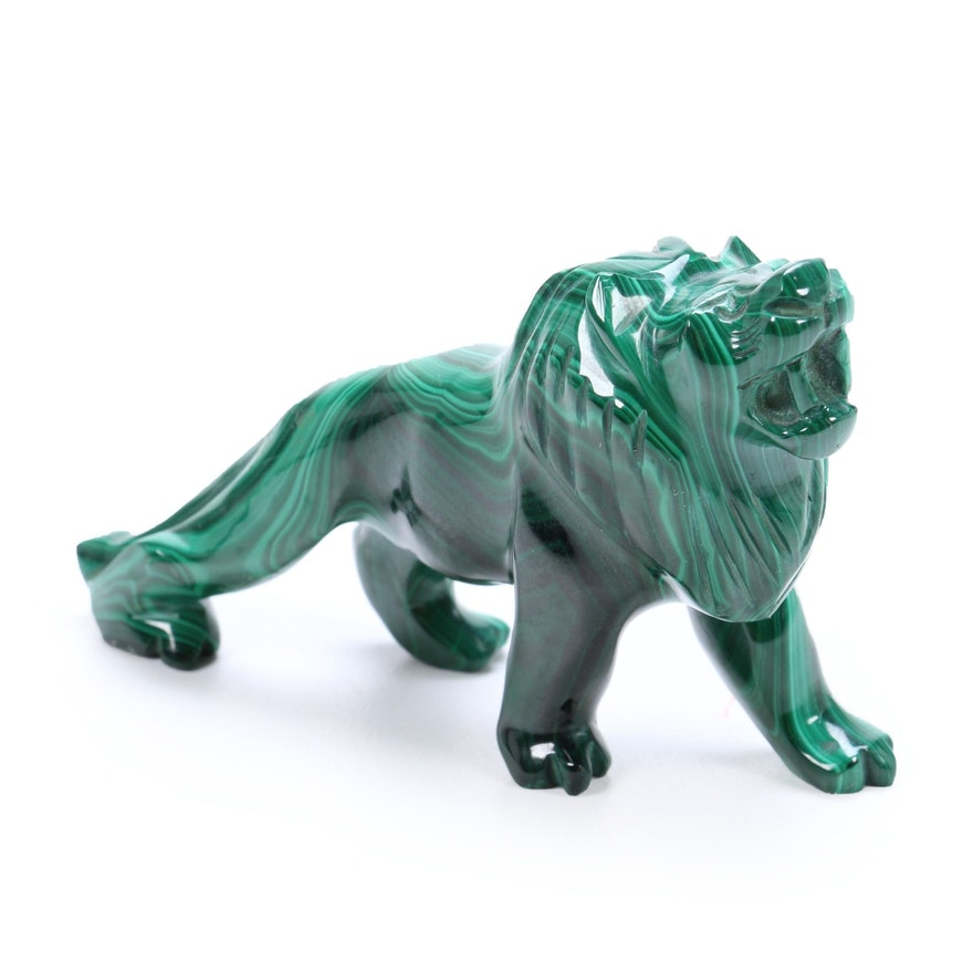 Carved Malachite Lion Figurine