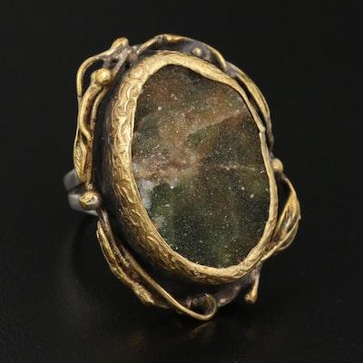 Sterling Druzy Quartz Floral Motif Ring
