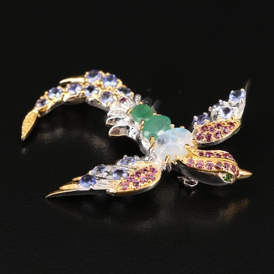 Sterling Silver Multi-Gemstone Swallow Brooch Featuring Emerald
