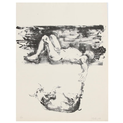 John Tuska Figural Lithograph of Man and Bull, 1970