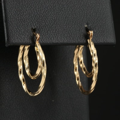 14K Double Twisted Hoop Earrings