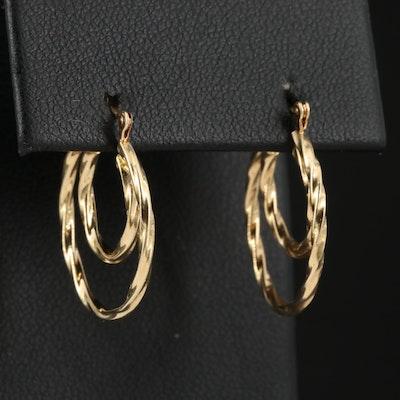14K Double Twisted Hoop Earrings