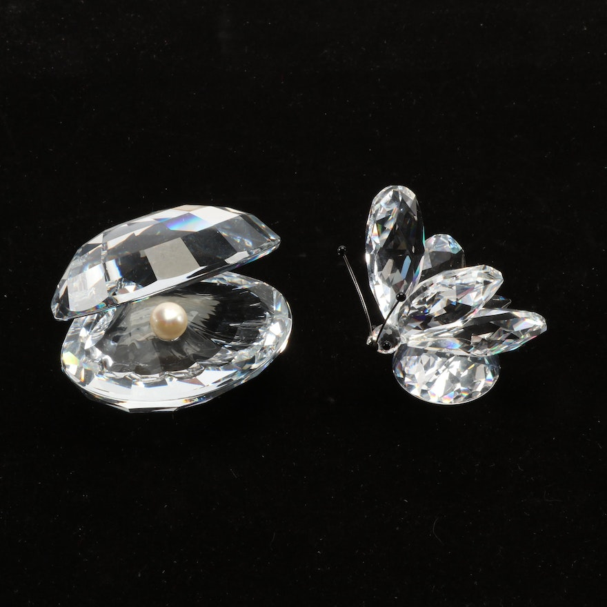 Swarovski Silver Crystal Butterfly and Oyster Figurines