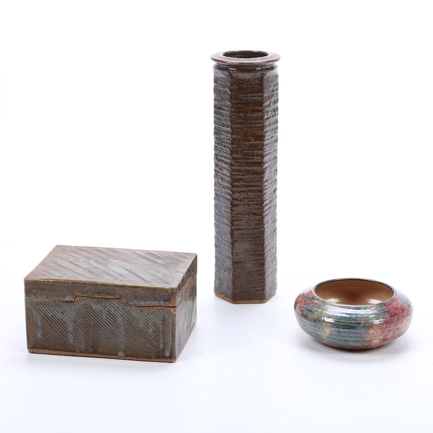 Handmade Pottery Box, Bowl, and Vase