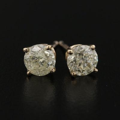 14K 1.34 CTW Diamond Solitaire Earrings