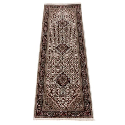 2'8 x 8'2 Hand-Knotted Indo-Persian Tabriz Silk Blend Runner Rug, 2010s