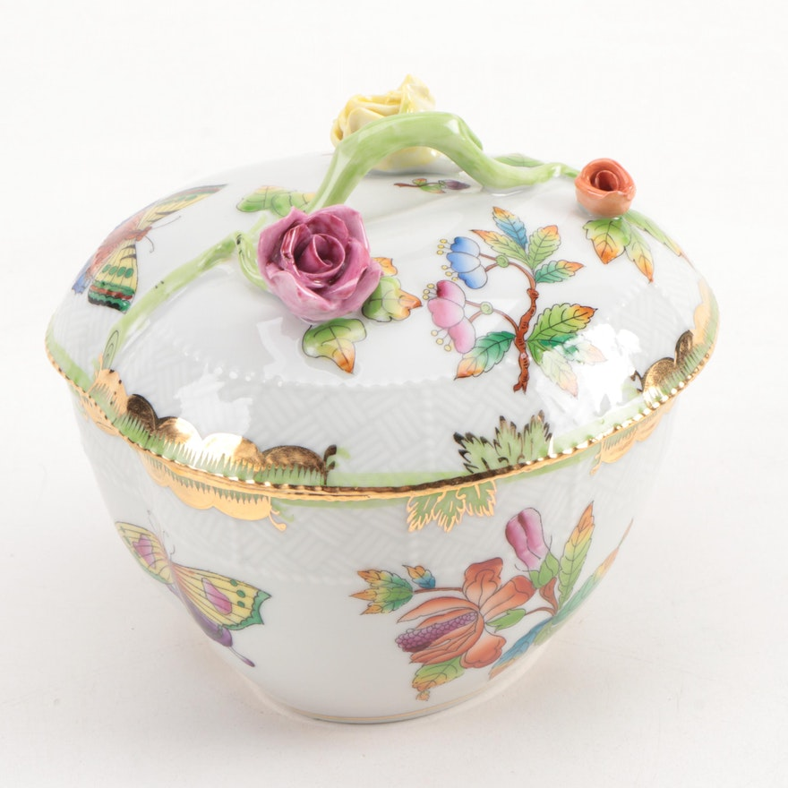 """Herend Kangaroo Hand Painted Porcelain Figurine In Pink: Herend """"Queen Victoria"""" Porcelain Heart-Shaped Box"""