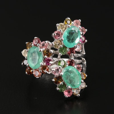Sterling Silver Emerald and Tourmaline Cluster Ring