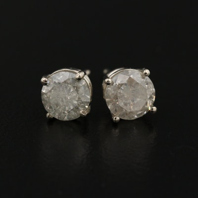 18K Gold 1.80 CTW Diamond Stud Earrings