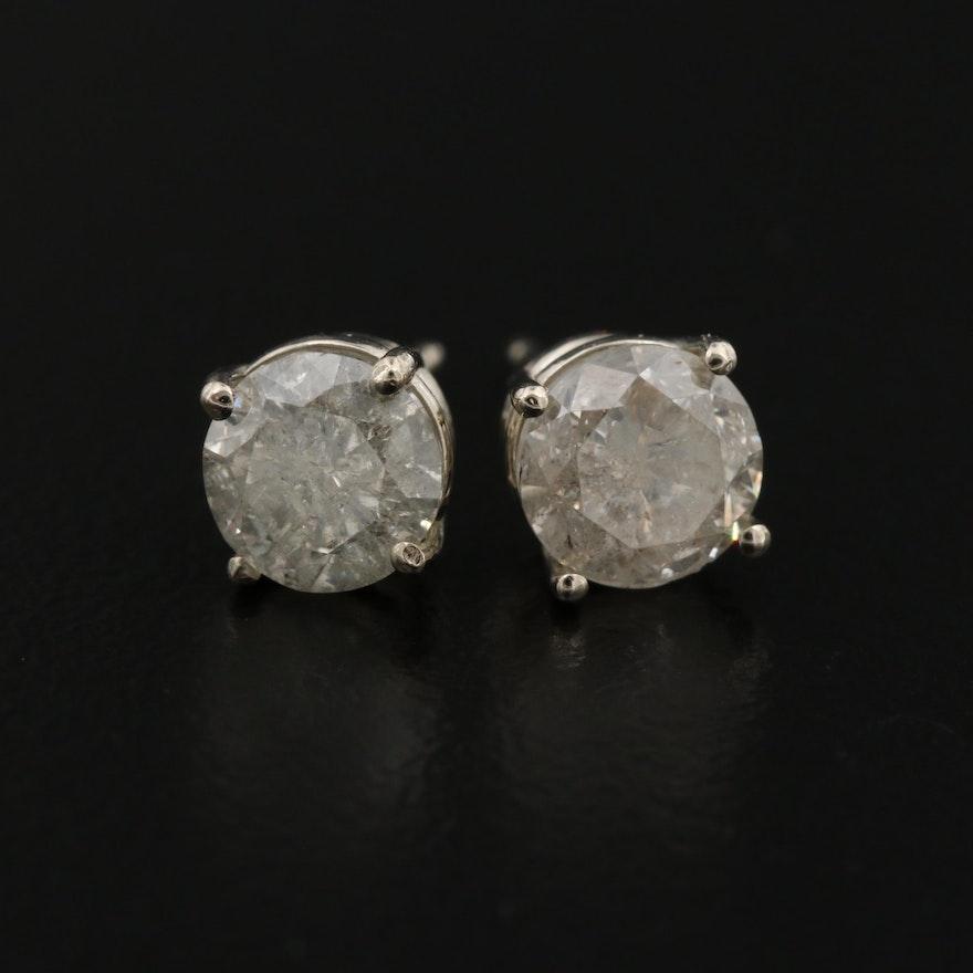 18K Gold 1.80 CTW Diamond Stud Earrings
