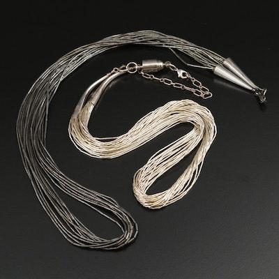 Sterling Liquid Silver Multi-Strand Necklaces
