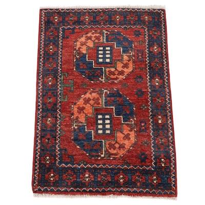 2'1 x 3'1 Hand-Knotted Afghani East Turkestan Turkoman Rug, 2010s