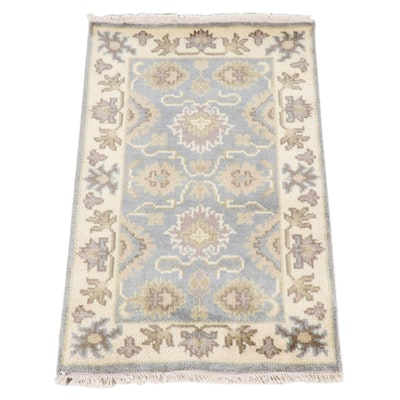 1'11 x 3'2 Hand-Knotted Indo-Turkish Oushak Rug