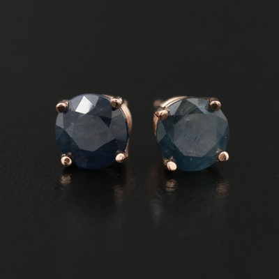 14K Rose Gold Sapphire Stud Earrings