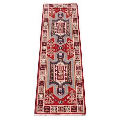 2'2 x 6'9 Hand-Knotted Indo-Caucasian Kazak Runner Rug, 2010s