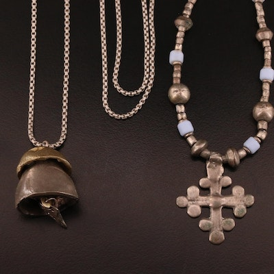 'Show The Love' Bell Pendant and Beaded Cross Necklace