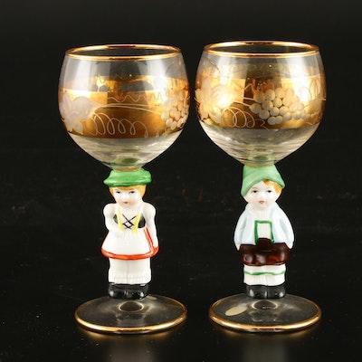 Goebel Figural Etched German Port Glasses, Mid-20th Century