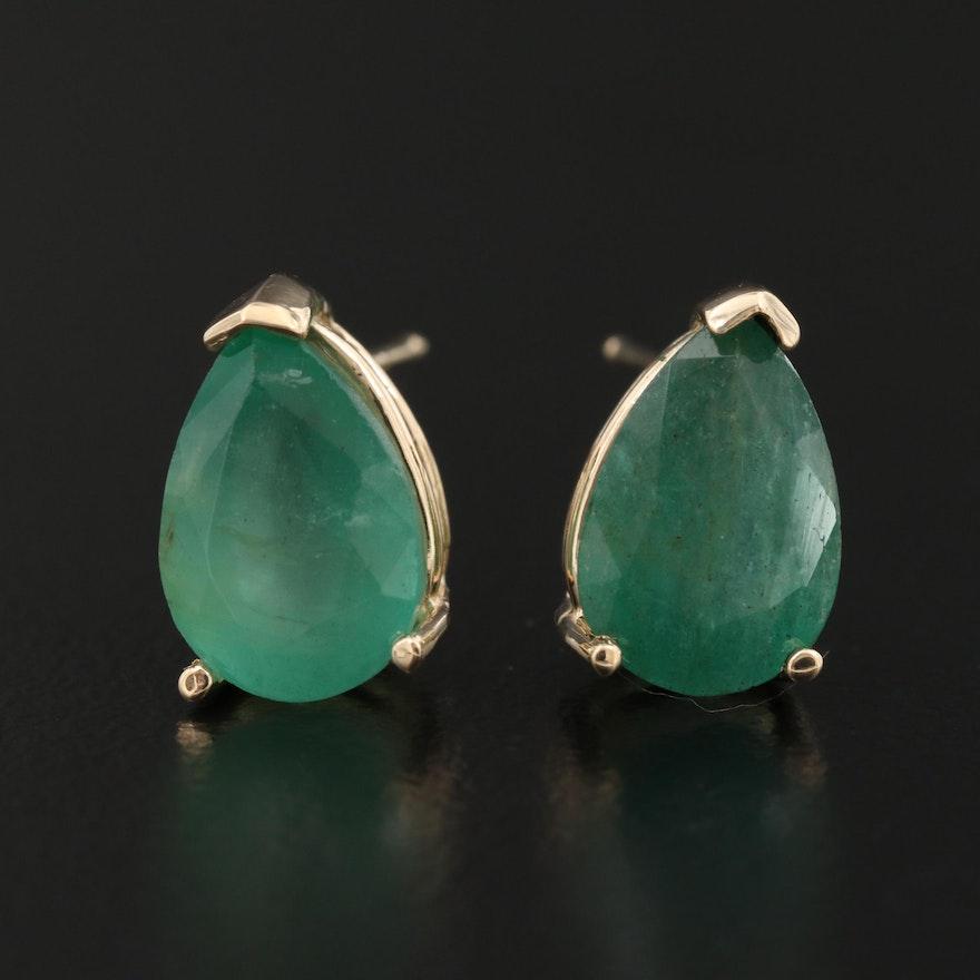 14K 3.83 CTW Emerald Stud Earrings