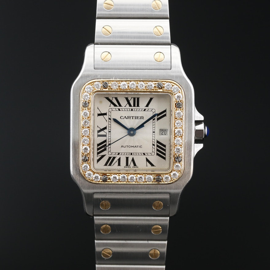 Cartier Santos Galbee 18K and Stainless Steel Automatic Wristwatch