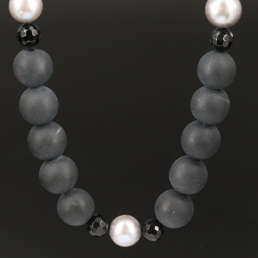 Pearl and Beaded Onyx Necklace with Sterling Silver Clasp