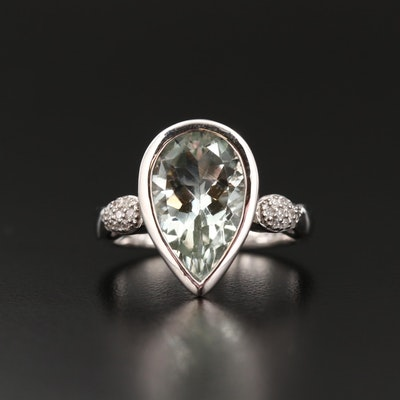 Sterling Silver Pear Shaped Prasiolite and Diamond Ring