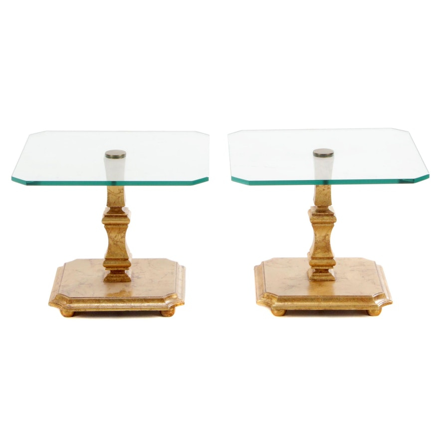 Pair of Glass Top Giltwood End Tables, Mid to Late 20th Century