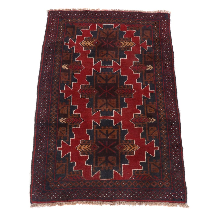 2'10 x 4'5 Hand-Knotted Afghani Turkoman Rug, 2000s