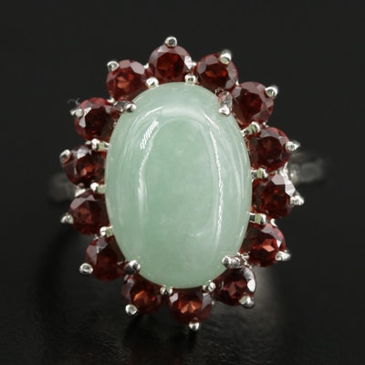 Sterling Jadeite and Ruby Ring