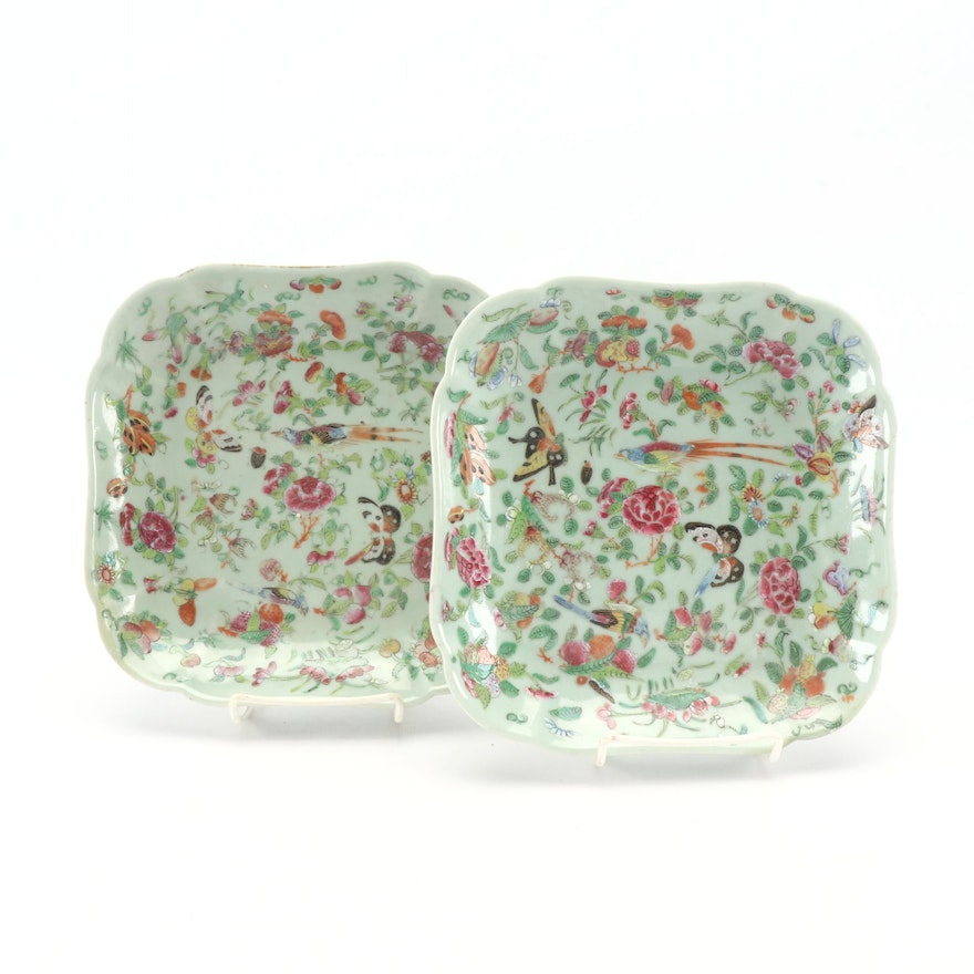 Pair of Chinese Celadon Famille Rose Porcelain Serving Dishes, Late 19th Century