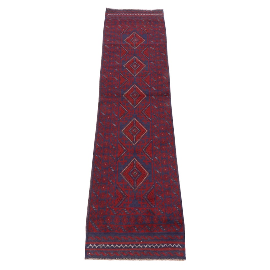 2'0 x 8'7 Hand-Knotted Afghani Turkoman Runner Rug, 2000s